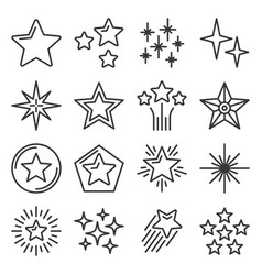 Star icons set on white background line style vector