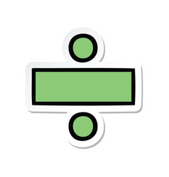Sticker of a cute cartoon division symbol vector