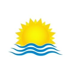 Sun and sea waves Travel logo template vector