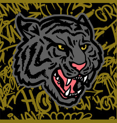 tiger graffiti background vector image