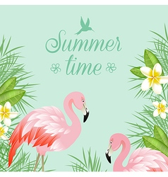 Tropical background with flowers and pink flamingo vector image