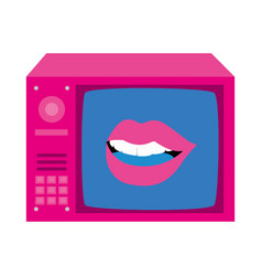 Tv nineties retro with lips sexy vector