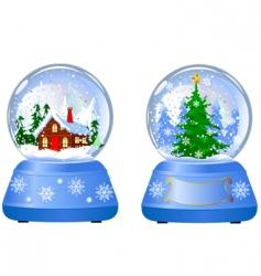 two Christmas snow globes vector image