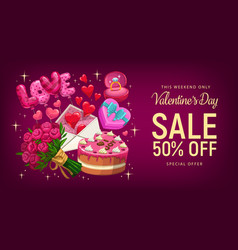 valentines day gifts and love hearts sale offer vector image