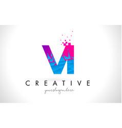 vi v i letter logo with shattered broken blue vector image
