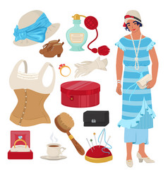 victorian lady set flat isolated vector image