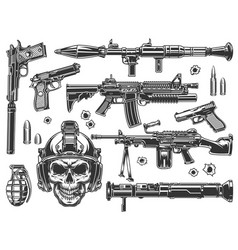 vintage military and army elements set vector image