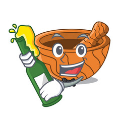 With beer wooden kitchen mortar isolated on mascot vector