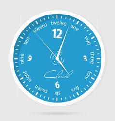 blue dial plate wall clocks face on white vector image vector image