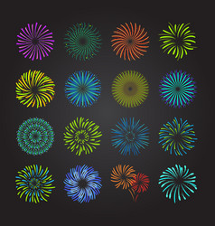 color celebration fireworks set vector image vector image