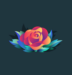 isolated rose with leaves vector image vector image