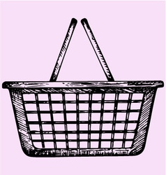 Plastic shopping basket vector