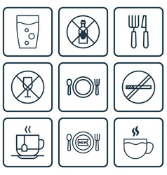 set of 9 restaurant icons includes fork knife no vector image