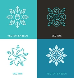 set of logo design templates in trendy linear vector image vector image