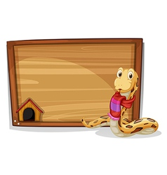 A wooden empty board with a snake vector image