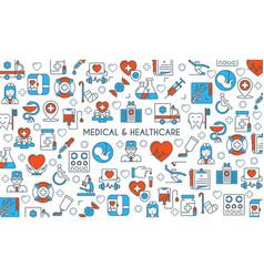 flat line design medical banner vector image
