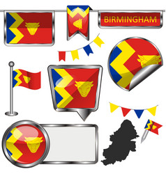 glossy icons with flag of birmingham vector image