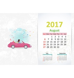 nice young woman in pink convertible with shopping vector image