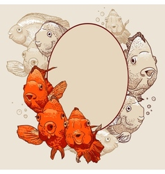 Ornamental frame with fish vector image