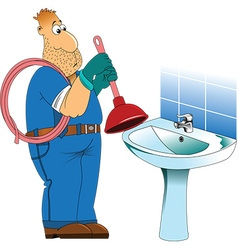 Plumber cartoon vector image