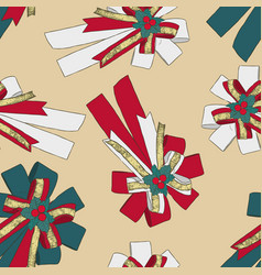 ribbon christmas concept seamless pattern vector image vector image