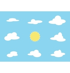 set of cloud object and sun Collection vector image vector image