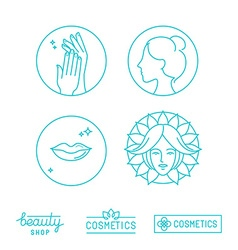 set of linear logo design templates and icons vector image