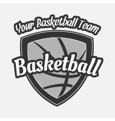 Black and white Basketball Label with Ball vector image vector image