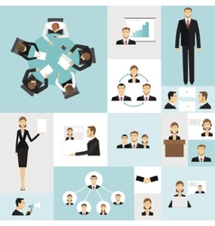 Business meeting icons vector image vector image