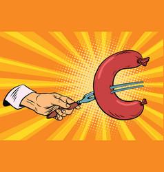 euro sausage fast food finance vector image vector image