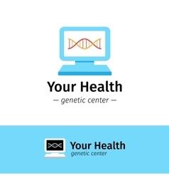 Flat medical center logo dna diagnostic vector