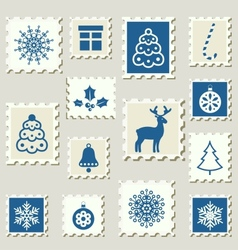 Postage stamps winter vector image vector image