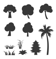 Silhouette tree and grass icon set vector