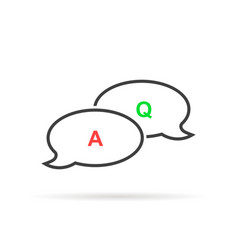 thin line question answer bubble like quiz vector image