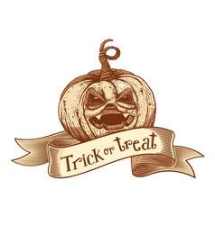 trick or treat retro pumpkin sketch vector image vector image
