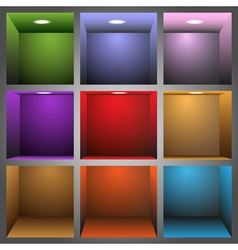 3d colorful shelves vector image