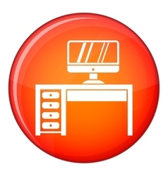 Computer desk workplace icon flat style vector image vector image