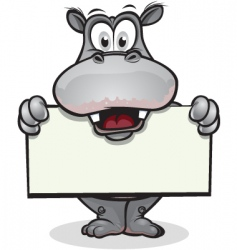 cute hippo holding sign vector image vector image
