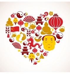 Heart shape with China icons vector image vector image