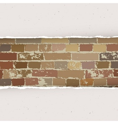torn paper on brick wall background vector image vector image
