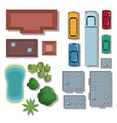 urban elements top view vector image vector image