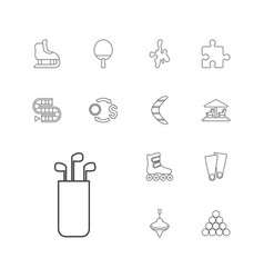 13 leisure icons vector image