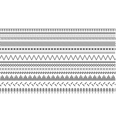 A set endless sewing stitches and embroidery vector
