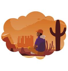 Afro man contemplating horizon in desert scene vector