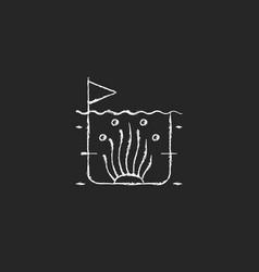 Algaculture chalk white icon on dark background vector