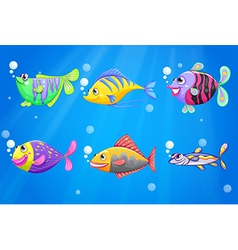 An ocean with colorful fishes vector