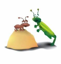 ant and grasshopper vector image