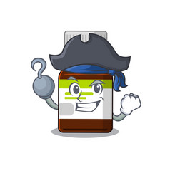 Antibiotic bottle in a pirate with one hook hand vector