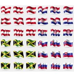 Austria Croatia Jamaica Slovakia Set of 36 flags vector