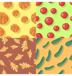 Autumn Seamless Patterns Fall Endless Textures vector